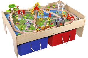 Pidoko Kids Wooden Multi Activity Play Train Table