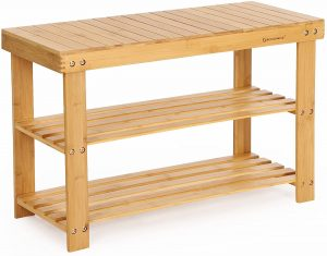 SONGMICS 3-Tier Bamboo Sturdy Shoe Rack Bench