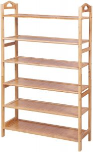 SONGMICS 6-Tier Bamboo Wood Shoe Rack