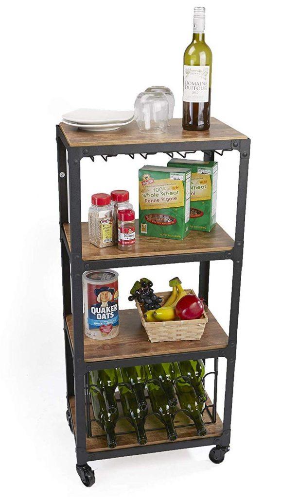 Mind-Reader-Bar-Cart-with-Stemware-Storage-and-Wine-Rack