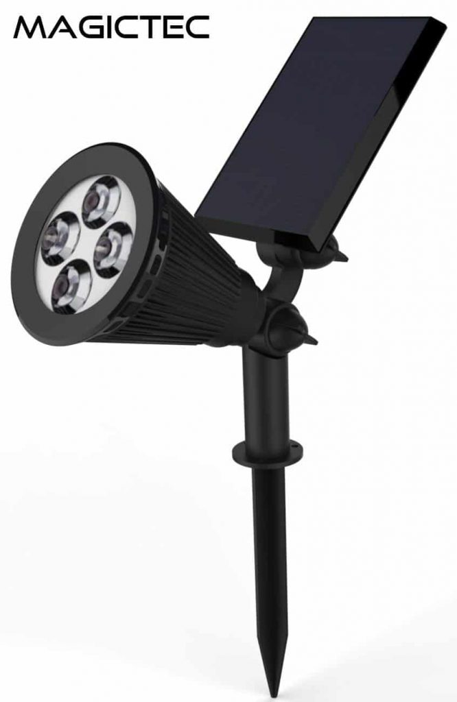 Solar-Spotlights, Magictec-Warm-Light-2-in-1-Adjustable-4-LED-Wall
