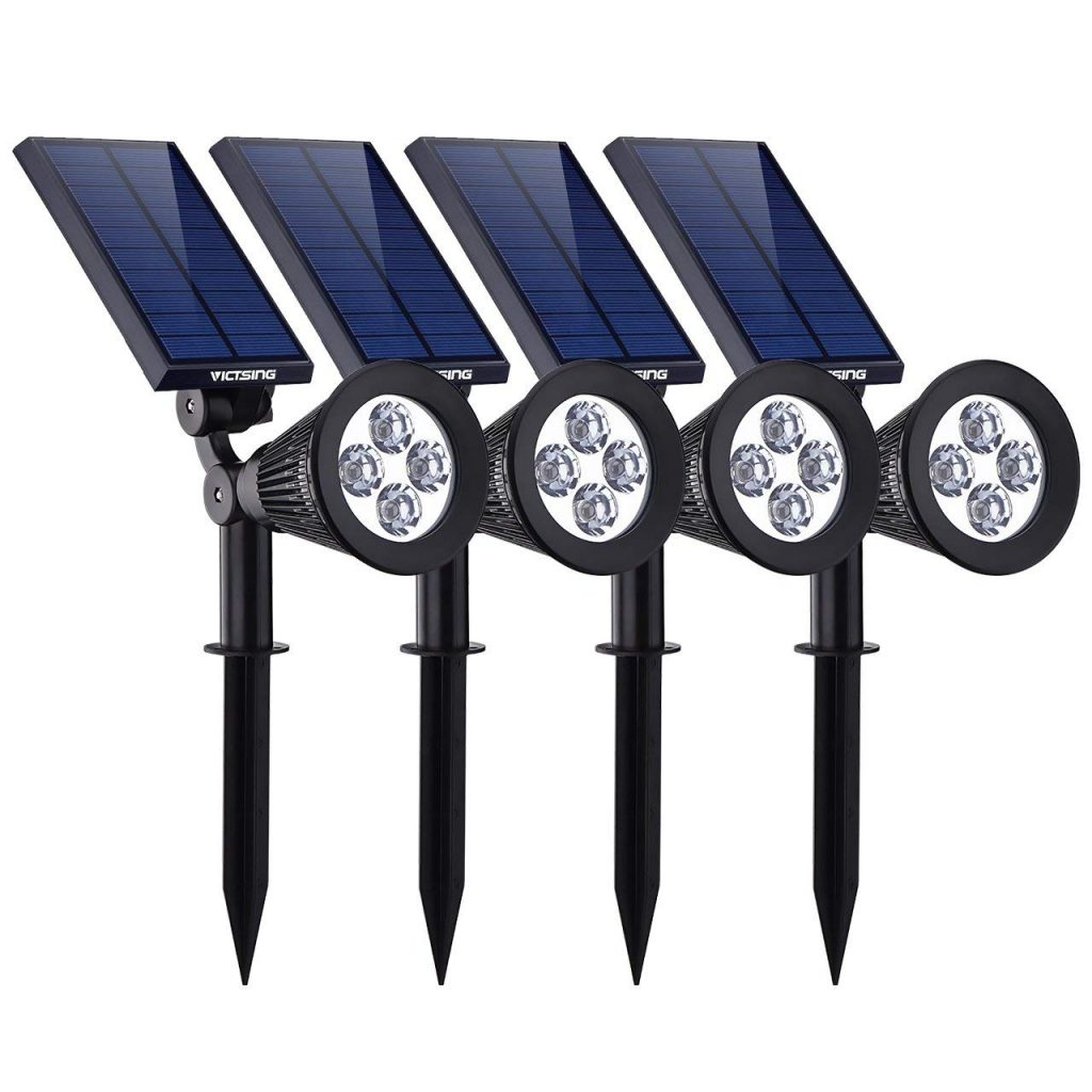 VicTsing-4-Pack-Solar-Spotlights, Waterproof-Adjustable-4-LED-Wall