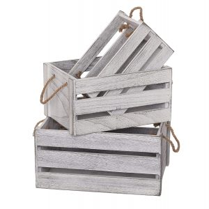 SLPR Set of 3 Decorative Wooden Crates for storage with Rope