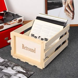 Wood Vinyl Stackable LP Storage Crate Holds 70 Albums