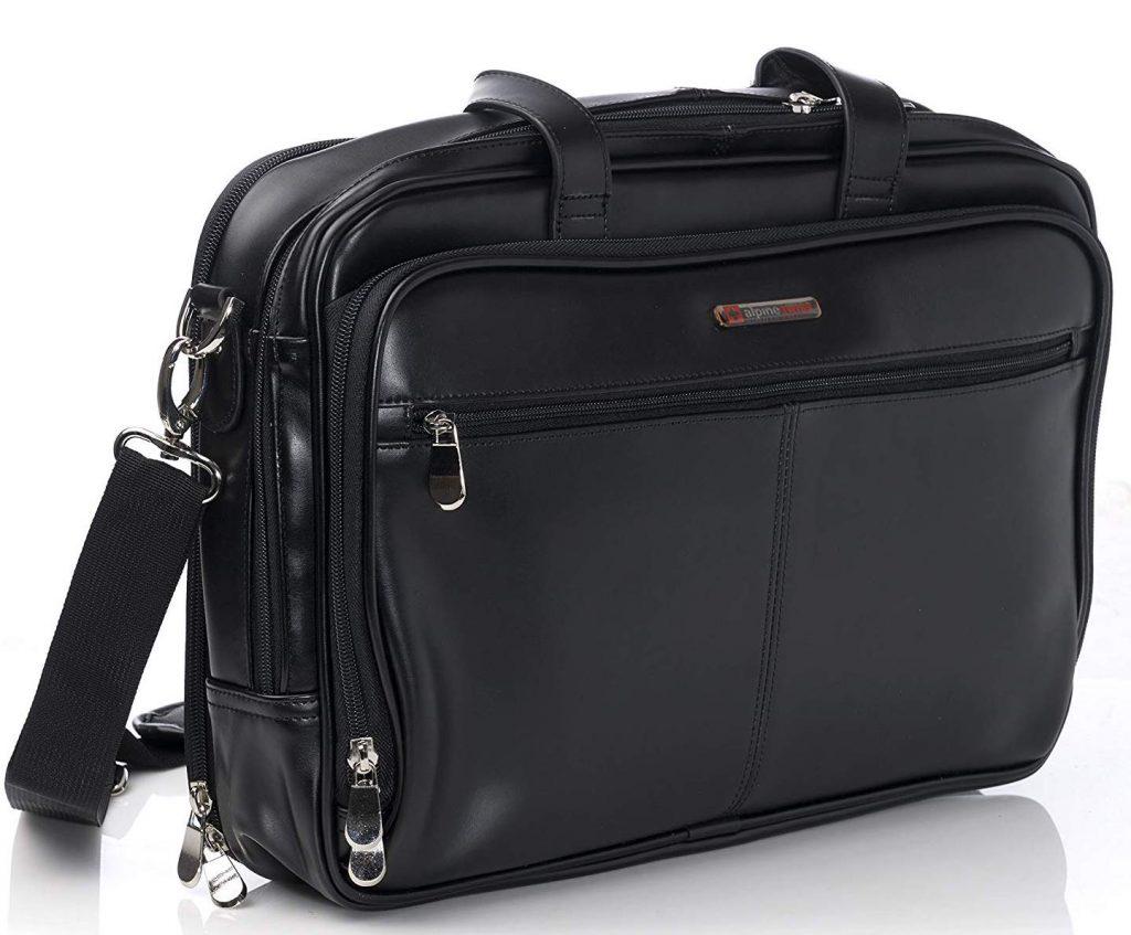 Alpine Swiss Leather Briefcase Messenger