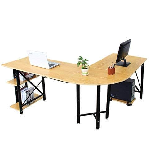 Bizzoelife Large L-Shaped Corner Desk