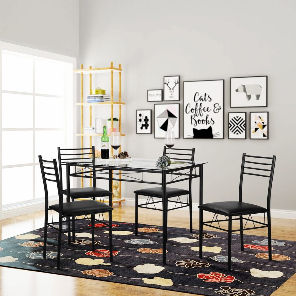 VECELO Black Dining Table with four Chairs
