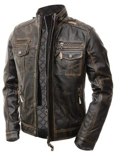ABBRACI MEN'S MOTORCYCLE BIKER FITTED VINTAGE