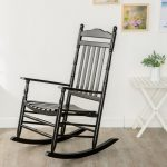 B&Z KD-22B Black Wood Rocking Chairs Adult Patio Carved Vintage