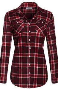 BodiLove-Women's Button-Up Plaid Shirt