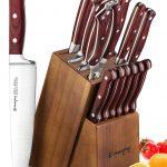 Emojoy-Knife Set, 15-Piece Wooden Handle