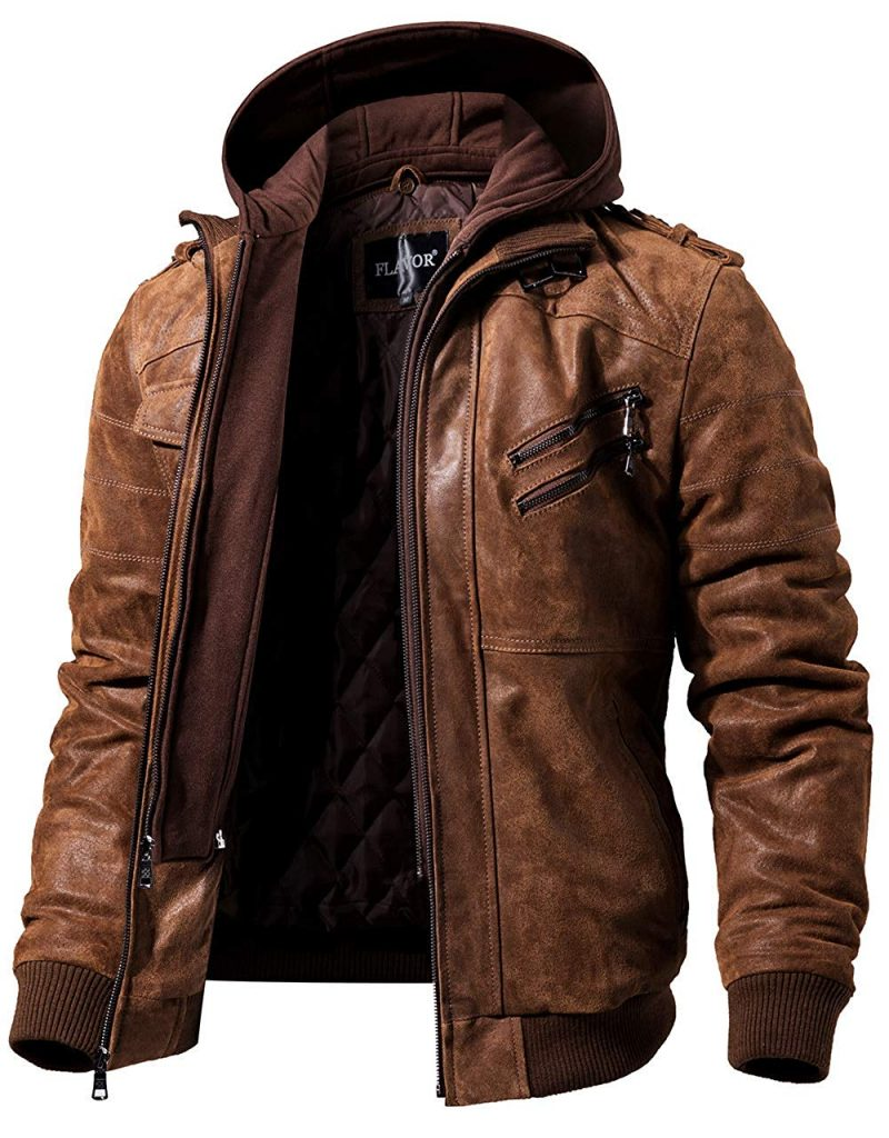 FLAVOR MEN'S REAL LEATHER MOTORCYCLE JACKET