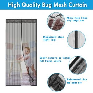 Instant Mesh Curtain with Full Frame Magic Tape Mesh Door