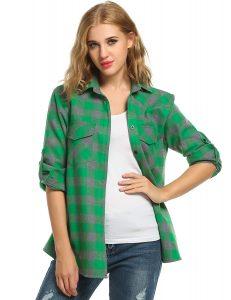 Jingjing1Women's Plaid Flannel Shirt