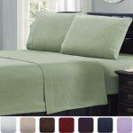 Mellanni 100% Cotton 4 Piece Flannel Sheets Set, 4-Piece, (Queen, Sage)