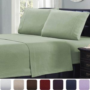 Mellanni 100% Cotton 4 Piece Flannel Sheets Set, 4-Piece, (Queen, Sage)