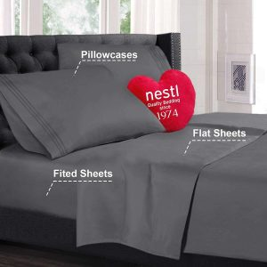 Nestl Bedding Sheet Set, 4 Pieces - 1800 Deep Pocket, Quee