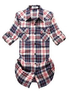 OCHENTA Women's-Mid-Long Flannel Shirt