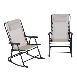 Outsunny Mesh Outdoor Patio Folding Rocking Chair Set