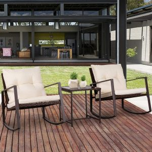 Suncrown Patio Rocking Chair Set, 3 Piece Brown Wicker Bistro Set