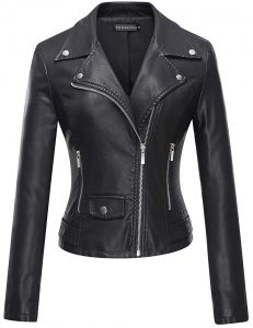 TANMING FAUX LEATHER SHORT COAT JACKET