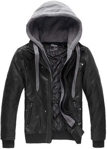 Wantdo Men's Faux Leather Jacket with Removable Hood
