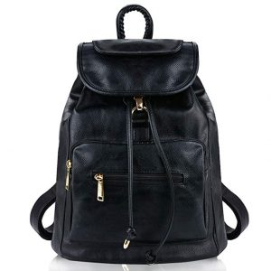 COOFIT Black PU Schoolbag Leather Daypack for Women