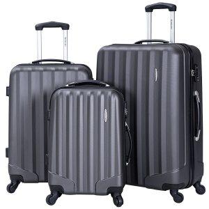 Goplus 3 Pcs Luggage Set ABS Hardshell Travel Bag Trolley Suitcase