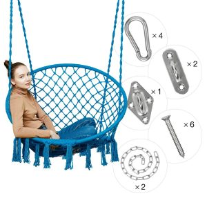 Greenstell Hammock Chair Macrame Swing with Hanging Kits