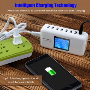 Multiple USB Charger, 60W/12A 8-Port Desktop Charger