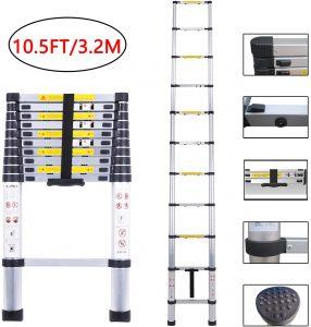 Telescoping Ladder 10.5ft/3.2m Aluminum Multi Telescopic