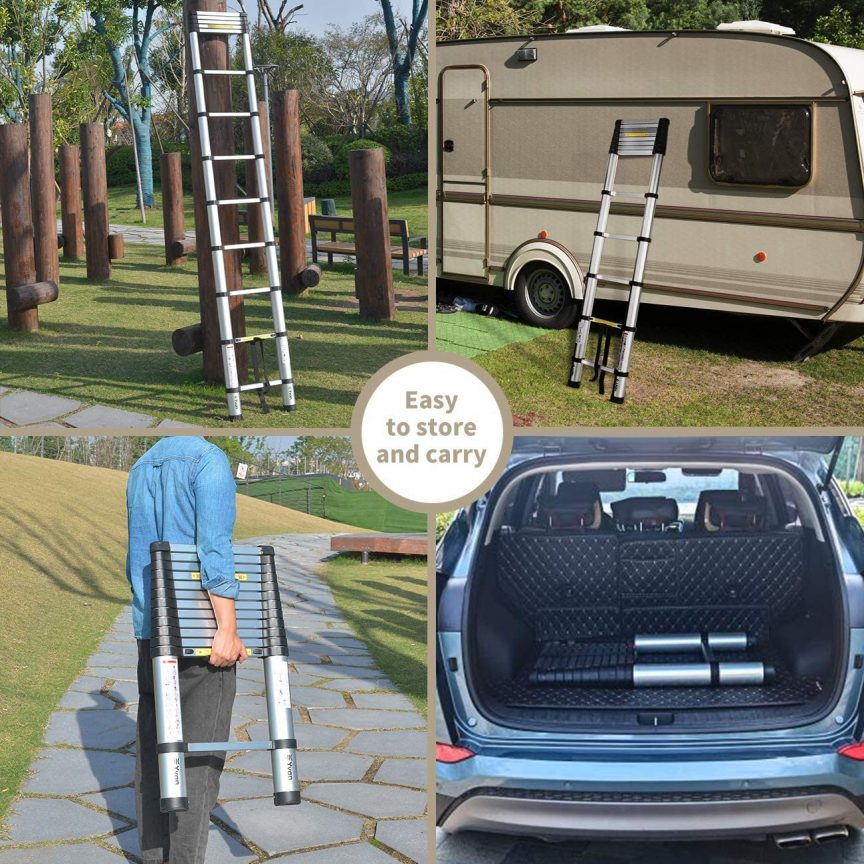 telescoping ladder with stabilizer bar