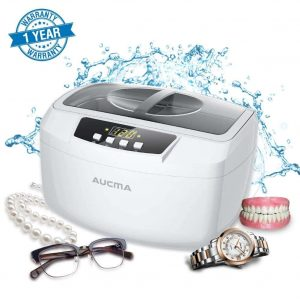 AUCMA Ultrasonic Cleaner with Digital Timer (White)