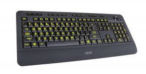 Azio Vision Large Print keys Backlit USB Keyboard- Wired