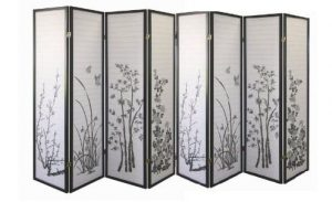 Legacy Decor 8-panel Bamboo Floral Privacy screen