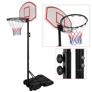 Smartxchoices Portable Basketball Hoop Height-Adjustable Steel Pole