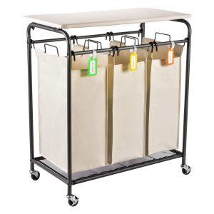 Sunix Rolling 3-bag Laundry Sorter