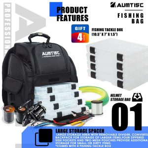 Aumtisc Fishing Backpack with Rain Cover & Four Trays