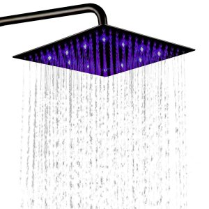 "LED Shower Head – 3 Color 12"" Fixed Shower Heads"