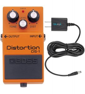blucoil- Boss DS-1 Distortion Guitar with Slim AC/DC Adapter