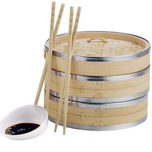 VonShef Premium 2 Tier Bamboo Steamer