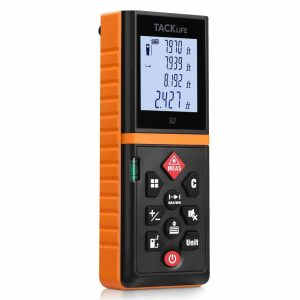 Tacklife 196 Ft Digital Laser Tape Measure, Black & Orange