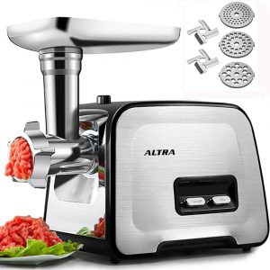 ALTRA Electric Meat Grinder, Stainless Steel with 3 Grinding Plates