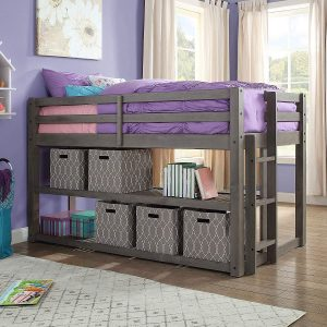Better Homes and Gardens Storage Bed with Shelves, Slate