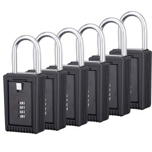 Champs Realtor 4 Digit Combination Padlock [Pack of 6, Black]