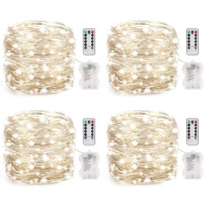LEDIKON 4 Pack 80 LED 26.5FT Mini String Lights Waterproof
