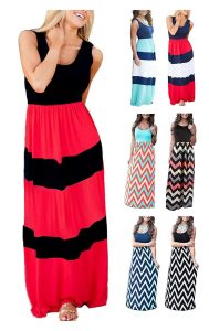 LETSRUNWILD Women's Boho Chevron Striped Summer Dress