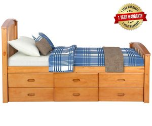 Merax Twin Size Platform 6 Drawers Solid Wood Storage Bed