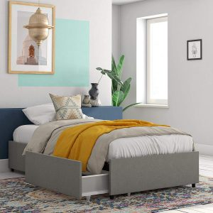 REALROOMS Alden Gray Linen Platform Bed with Storage Drawers