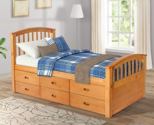 Rhomtree Twin Size 6 Drawers Wood Platform Captain Bed (Honey)